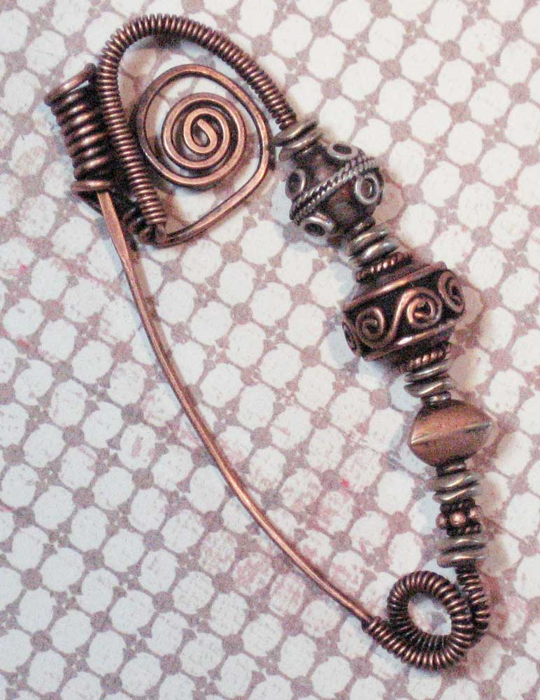 Copper-scarf-pin-